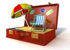 3d wakacje walizka Obrazy Royalty Free