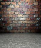 3d wall with brick texture, empty interior. 3d wall with brick texture in empty interior Stock Image
