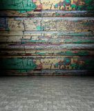 3d wall with decorative wooden texture Royalty Free Stock Images