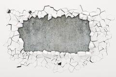 3d wall destruction. On white stock illustration