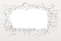 3d wall destruction. On white royalty free illustration