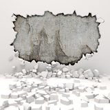 3d wall destruction. On white vector illustration