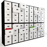 3D wall of file drawers. Isolated over white background Stock Photography