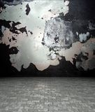 3d wall with peeling paint texture, empty interior Royalty Free Stock Photo