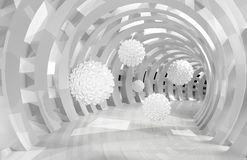 Free 3d Wall Tunnel With Flying Balls 3d Rendering Royalty Free Stock Images - 156407369