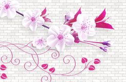 Free 3d Wallpaper Abstract Background With Wall Bricks And Pink Flowers Green Branch Royalty Free Stock Photography - 152914467