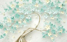 Free 3d Wallpaper Abstract Floral Background With Green Flowers And Golden Butterfly Stock Images - 152843954