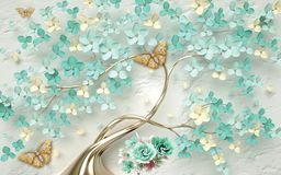 Free 3d Wallpaper Abstract Floral Background With Green Flowers And Golden Butterfly Stock Photography - 152844992