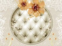 Free 3d Wallpaper For Wall . Leather In Circle And Golden Flower . Jewelery And Floral Motifs Royalty Free Stock Photos - 206991058