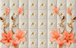 Free 3D Wallpaper Mural Design With Floral And Geometric Golden Branch Chinese Marble Wallpaper Flowers Rose Flower Stock Photography - 155203372