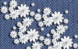 Free 3d Wallpaper, Paper Flowers On Knitted Texture. Stock Image - 143266601