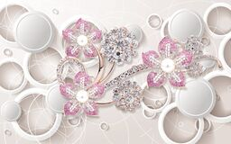 Free 3d Wallpaper Pink And Silver Diamond Flowers On Circles Background Royalty Free Stock Photos - 218221988