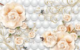 Free 3d Wallpaper Pink Flowers And Butterflies On Gray Balls Background Stock Photography - 218222422