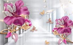 Free 3D Wallpaper Pink Jewelry Flowers On Silver Tunnel Background Royalty Free Stock Photos - 218087308