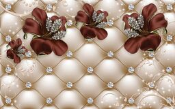 Free 3d Wallpaper Red  Jewelry Flowers On Golden Leather Background Royalty Free Stock Photo - 218157935
