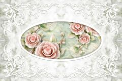 Free 3d Wallpaper, White Decor Frame, Stone Roses On Pale-green Marble Background. 3d Ceiling. Royalty Free Stock Image - 179670636