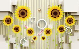 Free 3d Wallpaper Yellow Sunflower And Golden Balls On Background Royalty Free Stock Image - 218222206