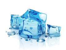 3D water ice cubes. 3D blue water ice cubes Stock Images