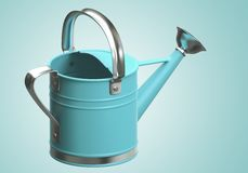 3D Watering can blue Stock Photo