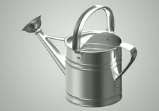 3D Watering can chromium Royalty Free Stock Photo