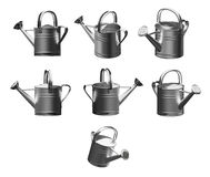 3D Watering can chromium. 3d model illustration watering can chromium on a white background, Isolated Royalty Free Stock Images