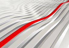 3d wave stripes with one red. Abstract background: white 3d wave stripes with one red Royalty Free Stock Image