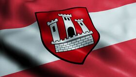 Free 3D Waving Austria City Flag Of Klosterneuburg Closeup View Stock Photography - 214219772