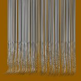 3d wavy hair lines in chrome silver on orange Royalty Free Stock Photography