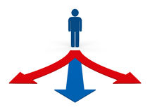 3d way arrow man. Red blue success Royalty Free Stock Photos