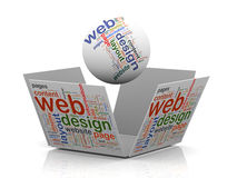 3d web design wordcloud tags. 3d rendering of sphere and open cube wordcloud word tags representing concept of web design Stock Photos