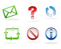 3d web icons. Web site and business icons in 3D Royalty Free Stock Photo