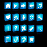 3D web icons. Illustration of a set of blue 3D icons isolated on black background.EPS file available Stock Image