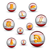 3d web icons. In the orbs Royalty Free Stock Images