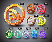 3D Web Icons. Three-dimensional icons of world wide web Stock Photo