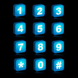 3D web icons - numbers. Illustration of a set of blue numbers 3D icons isolated on black background.EPS file available.3D alphabet icons available in my Stock Image