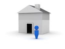 3d Webpictogram - Huis Stock Afbeelding