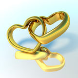 3D Wedding rings. Wedding rings in the shape of hearts Royalty Free Stock Image