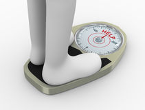 3d weight  scale with help word. 3d illustration of overweight fat person on weighing machine with word help need to lose weight through diet and exercise Royalty Free Stock Photos