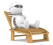 3D wenig menschliches entspannendes Zeichen. Lizenzfreie Stockfotografie
