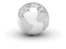 (3d) Wereld in wit met hulp Royalty-vrije Stock Foto's