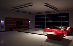 3d wewnętrzny żywy pokój Zdjęcia Royalty Free