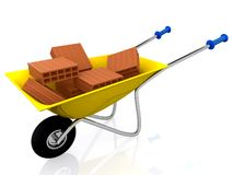 3D Wheelbarrow with bricks Stock Image