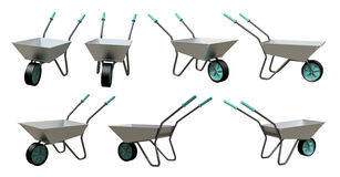 3D Wheelbarrow chromium. Wheelbarrow chromium model 3d illustration Isolated on a white background Stock Photo