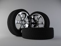 3d wheels in studio. Realistic render of 3d wheels Stock Photos