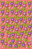 3D Whimsical Flowers Background. 3D whimsical flowers cover background of pink.  Flowers are pink and purple with lime green leaves and polka dots Stock Photography