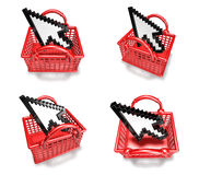 3d white arrow in shopping bag range four set Royalty Free Stock Photography