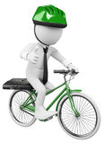 3D white business people. Bike to Work. 3d white business person going to work in a green bicycle with safety helmet. 3d image. Isolated white background Stock Photography