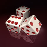 3D White Casino Die Red Points Royalty Free Stock Photo