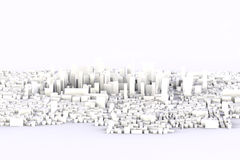 3d white city. Pc render Royalty Free Stock Photo
