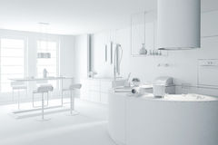 3d white clay render of a modern kitchen Royalty Free Stock Images